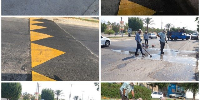رنگ آميزي سرعت گیر های سطح شهر كنگان به همت شهرداری كنگان